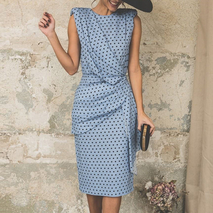 Polka Dot Dress Women Office Midi Dress 2019 Vintage Slim Fit Wrap Party Dress Sleeveless Summer Dress Beach Vestidos SJ1919V