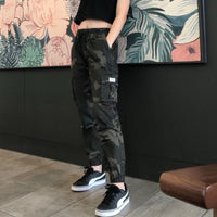 Camouflage Streetwear Cargo Pants Women Casual Joggers Black High Waist Loose