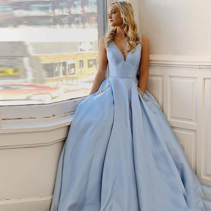 Simple V-Neck Light Sky Blue Prom Dresses With Pockets A-line Special Occasion