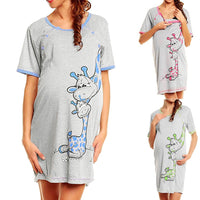 LONSANT Maternity Dress Women Cartoon Print Short sleeve Nightdress