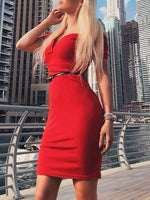 2019 Summer Women Elegant Sexy Red Cocktail Midi Party Dress Solid Off Shoulder Short Sleeve Slim Fit Bodycon Dress