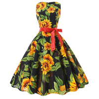 New Vintage Casual Office Plus Size Bandage Dress Sunflower