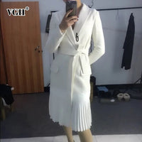 VGH Spring Women's Coat Long Sleeve V Neck Bow Sashes High Waist Ruched