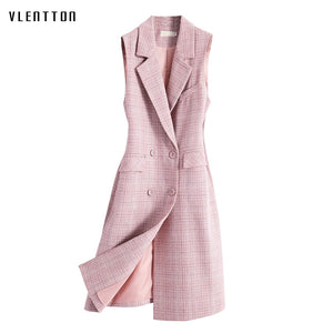 Autumn New Korean Pink Plaid Vest Woman Double Breasted Sleeveless Waistcoat Office