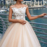 Wedding dress Tulle and Lace with Appliques Summer Wedding dress A-Line vestido