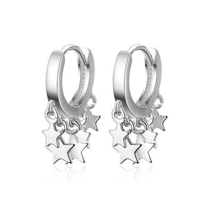 Exquisited 925 Sterling Silver Small Star Hoop Earrings Female Simple Gold Star