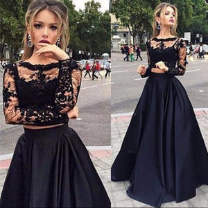2019 Black Two Pieces Prom Dresses Long Sleeveless Scoop A Line Lace Evening