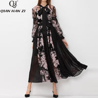 Qian Han Zi runway Maxi dress Bow collar Lantern Sleeve embroidered