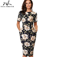 Floral Print Casual Work vestidos Business Office Bodycon Sheath Women Dress