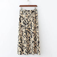 2019 Summer Satin Long Skirts Womens High Waist Skirt Leopard Daisy Printing Korean Sweet Bottoms