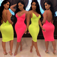 Strap Sexy Basic Neon Dress for Women Casual Solid Sleeveless Bodycon Dress Summer 2019 Party Pink Dresses Streetwear