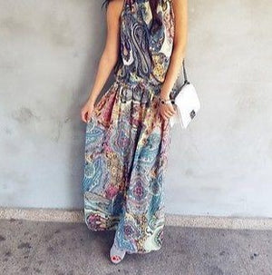 Vintage Floral Split Maxi Dress Ladies Summer Party Beach Wear Boho Dresses Women Classical Short Sleeve halter Long Sundress