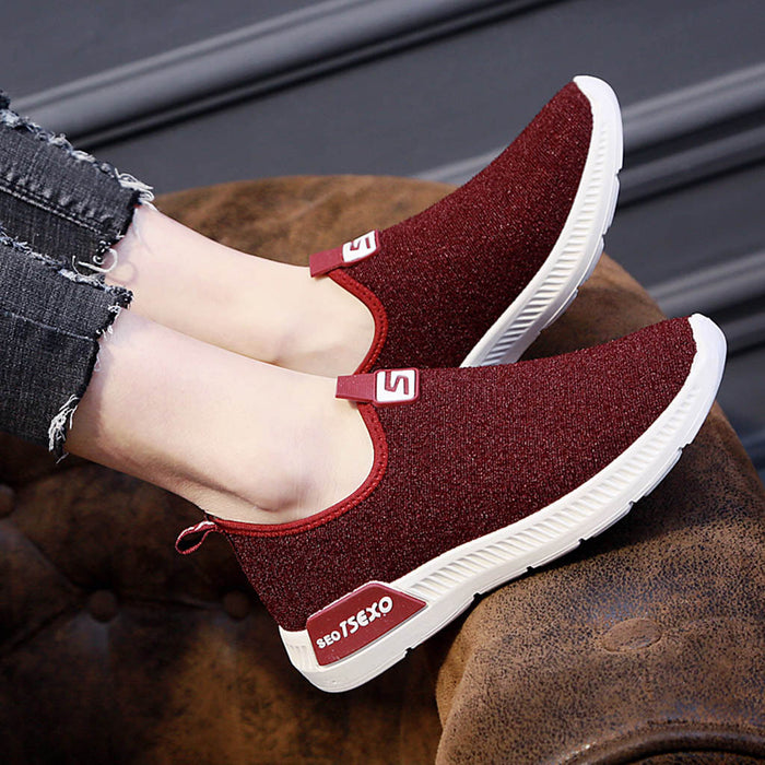 MUQGEW Women Ladies Casual Loafers shoes Sneakers New arrival Flats Breathable Stretch Shoes women sneaker flat high quality