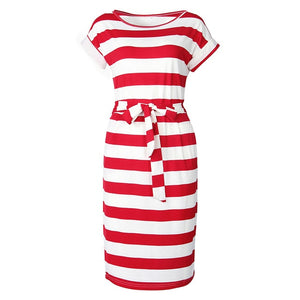 Elegant New Striped Summer Dress  Women Casual Vintage Dress Sexy Bandage Bodycon Short Sleeve Dresses Sundress Robe GV560