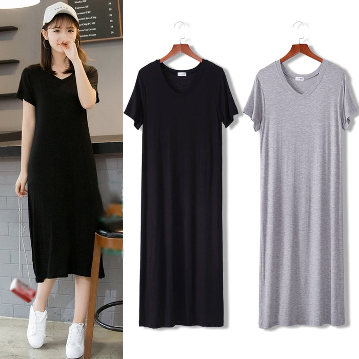 Summer Maxi T Shirt Dress Women Vintage Casual Sexy Bodycon Party Wrap