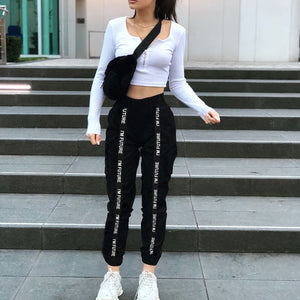 HOUZHOU 2019 Joggers Women Plus Size Pants Women Pantalones Mujer Black Women Trouser Streetwear High Waist Harajuku Cargo Pants