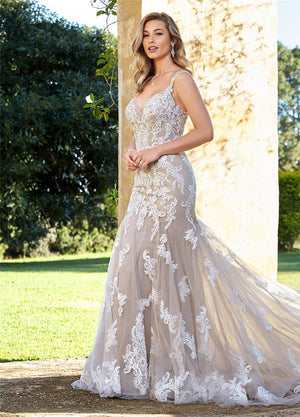 LORIE Mermaid Wedding Dress Elegant Lace Appliques with Tulle Bridal Gowns
