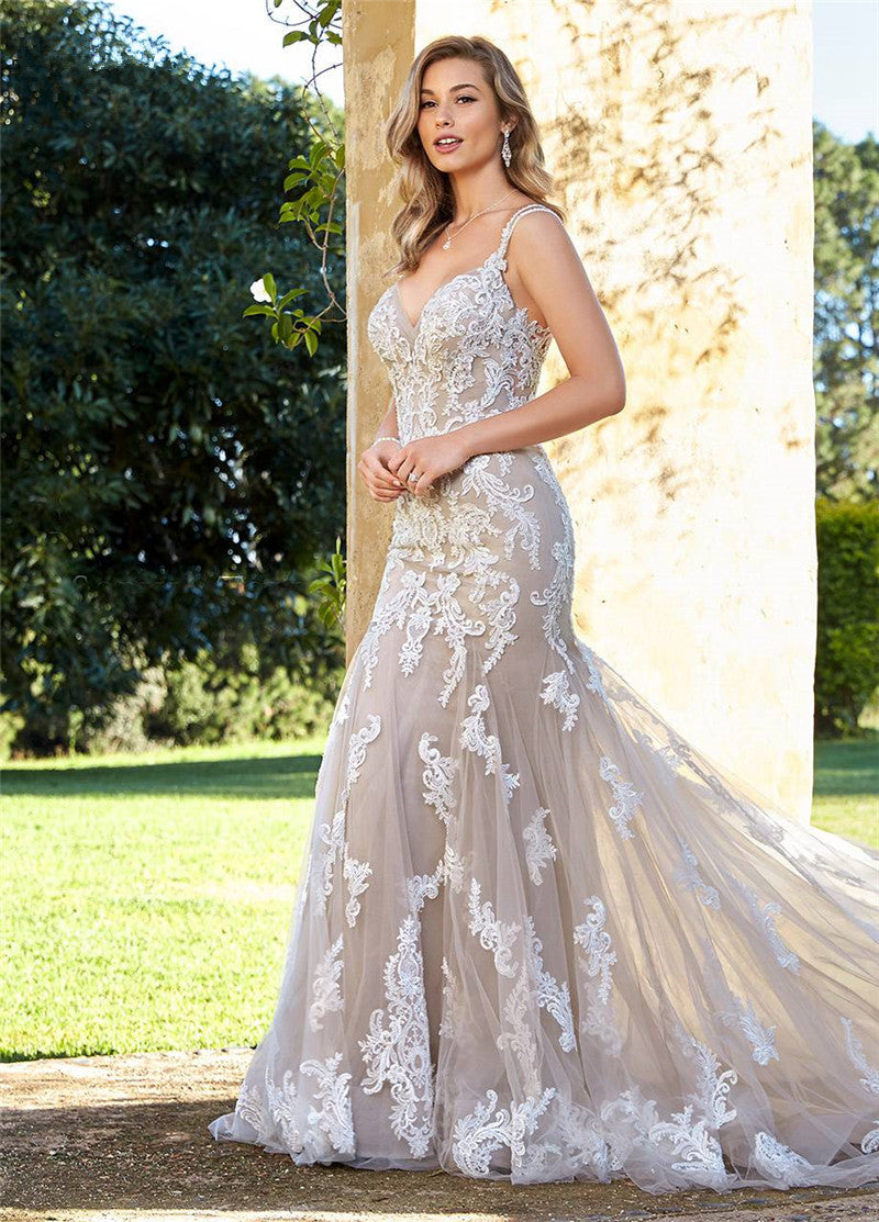 LORIE Mermaid Wedding Dress Elegant Lace Appliques with Tulle Bridal G