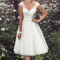 Beach Elegant Tea Length Short Wedding Dresses Cap Sleeves Appliques