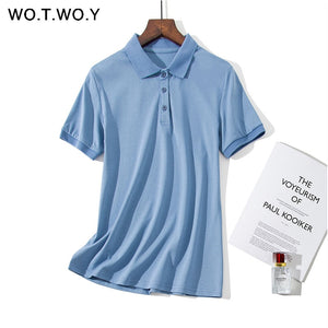 WOTWOY Polo Shirt Plus T Size M-4XL Women Summer Black White Shirt Women Short Sleeve Cotton Soft Breathable Lady Shirts Tops