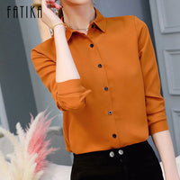 FATIKA Turn-down Collar Solid Shirts Streetwear Classic Long Sleeve Blouses Office Lady Trendy Casual 2019 Summer New Hot
