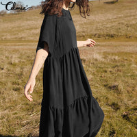 Women Summer Dress Celmia Vintage Half Sleeve Casual Loose Pleated Shirt Dresses Solid Party Robe Plus Size Maxi Long Vestidos