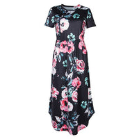Summer Floral Prairie Chic Dress Casual Femme Flower Boho Print Dreeses Pocket Short Sleeve Midi Dress Robe Sundreses GV879-B