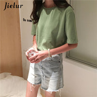 Jielur Tee Shirt 15 Solid Color Basic T-shirt Women Casual O-neck Harajuku Summer Top Korean Hipster White T Shirt S-XL Dropship