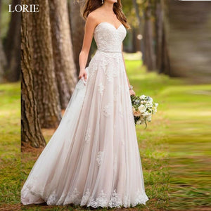A-line Wedding dresses,  Lace Appliques Summer Sleeveless Backless Wedding Dress