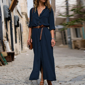 Ladies Autumn and Winter Loose Long-sleeved large Swing Shirt Belt Long Dress