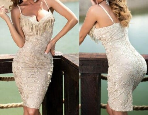 2019 Women Sexy Strap Lace Tassel Bodycon Stretch Pencil Cocktail Party Short Dress V-neck