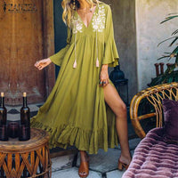 ZANZEA 2019 Women Summer Sundress Vintage Print Long Maxi Dress