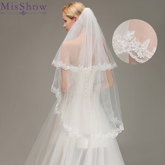 Stock Romantic Short wedding veils two layer 100 cm *150 cm with Comb