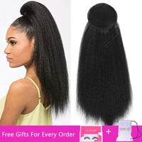 Drawstring Afro Puff Kinky Straight Ponytail Synthetic Hair Bun Chignon Hairpiece For Women Updo Clip in Hair Extension