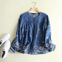 Spring Summer Tops Women Tencel Denim Shirt Women