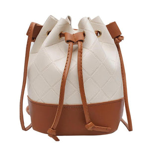 Hit Color Shoulder Bag Small Messenger Handbags PU Leather Casual Women Lattice Drawstring Bucket Crossbody Bags Bolsas Feminina