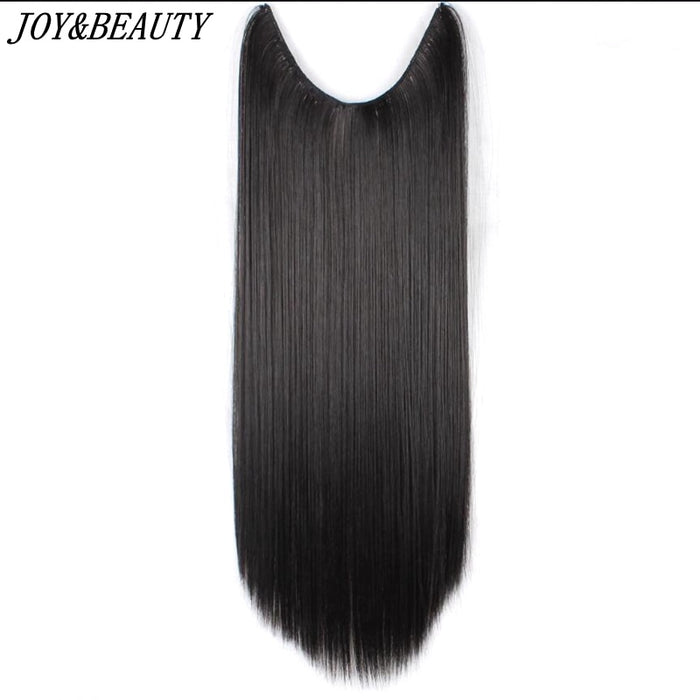 JOY&BEAUTY 24 inch Invisible Wire No Clips in Hair Extensions Secret Fish Line Hairpieces Silky Straight real natural Synthetic