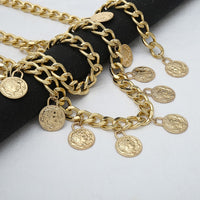 ladies belt gold coin tassel Metal waist chain Belts for Dresses fringed Alloy Women thin belt Female Long Chains waistband H93
