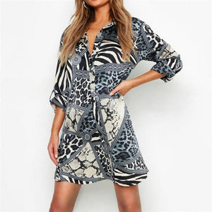 Dress Women Summer Chiffon Shirt Dress Vintage Print Casual V-Neck