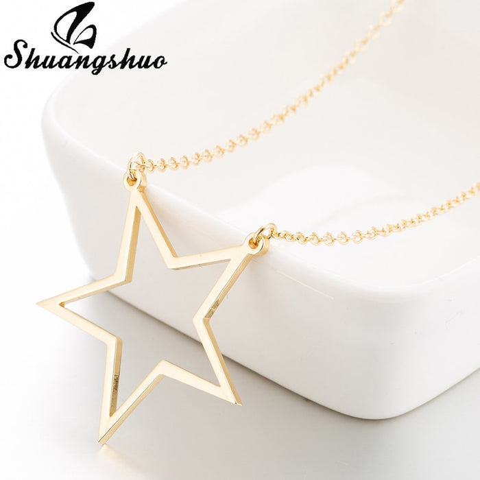 Shuangshuo Women Gold Necklaces Star Pendant Necklace Collares Hollow