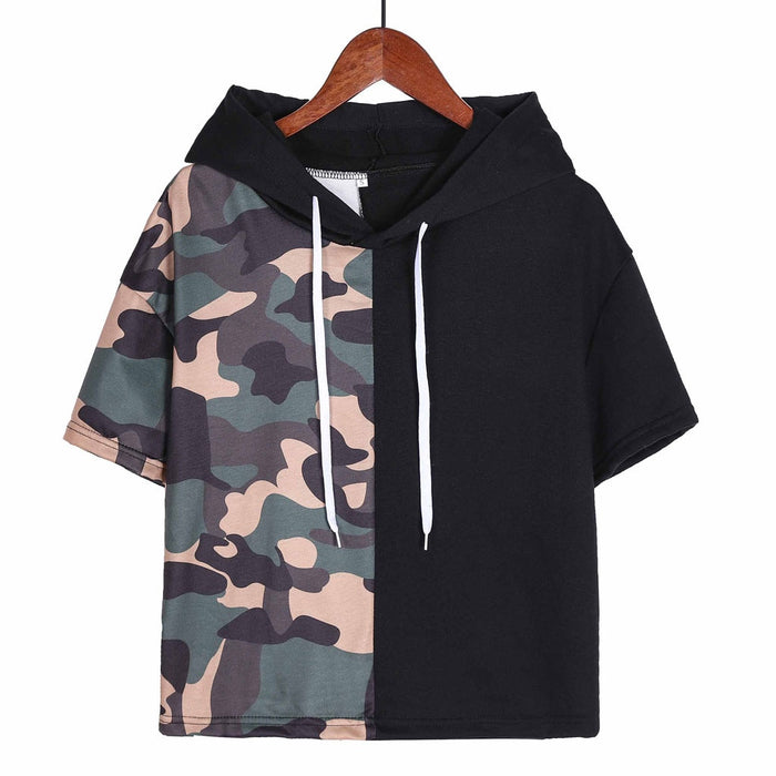 KANCOOLD top T-shirt Fashion new Women Camouflage Patchwork Tops T-shirt Short Sleeve Hooded Casual top femme 2018dec18