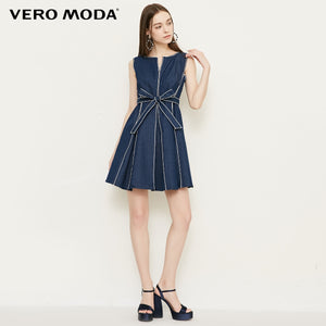 Vero Moda Visible Stitches Sleeveless Lace-up Denim Dress Summer Party Dress 2019 | 318342501