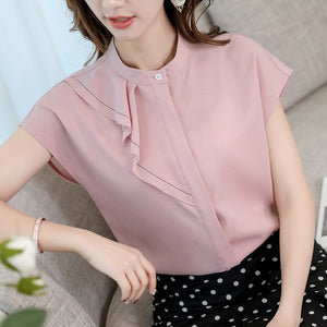 2019 Women White Chiffon Shirts Summer Casual Korean Slim Short Sleeve Shirt Women Elegant Office Blouse Ladies Streetwear Tops