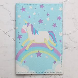 Cartoon Unicorn Passport Holder Cover RFID Women Storage Organizer Card Men PU Case Busines Credit Wallet Travel Accessories