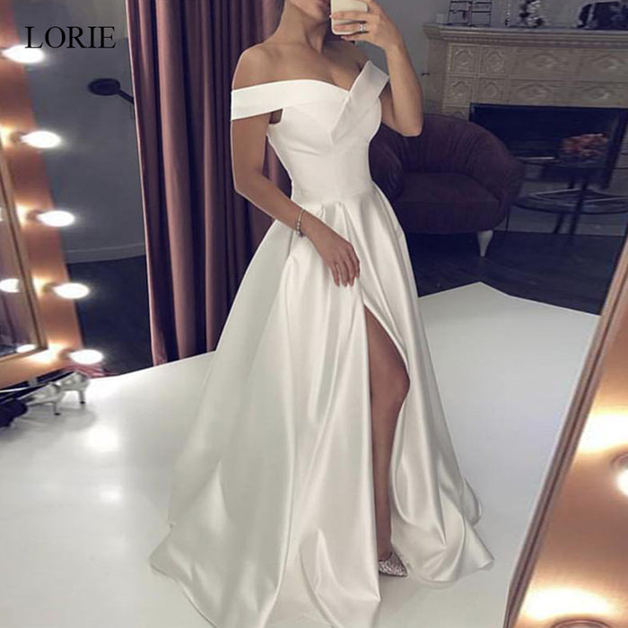 LORIE Wedding Dresses Stain Off the Shoulder Bridal Gown Right Split Backless