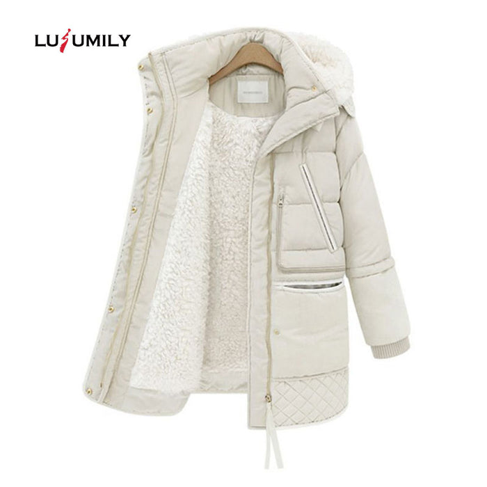 Lusumily 2019 Spring Winter Women's Jackets Cotton Coat Padded Long Slim Hooded Parkas Female Outwear Warm Jacket Wool Clothing