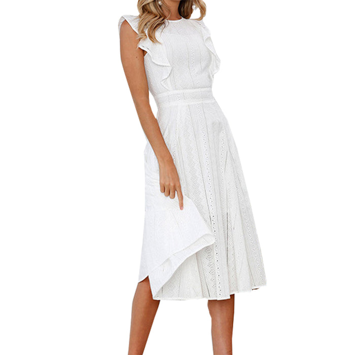 Fashion Summer A-line Lace White Dress Boho Beach Solid Women Midi Dresses Girl Sweet Ruffles Sleeveless Party Sundress GV413