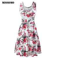 O-Neck Floral Print Slim Sleeveless Mini Dress Tank Dress clothes women vestidos