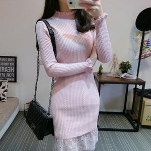 Spring loaded new fungus collar slim slimming lace knit sweater dress female