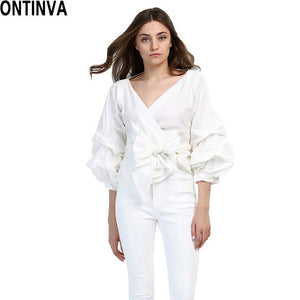 2019 Summer Puff Sleeve White Blouse with Belt Women Sexy V Neck Woman Shirt Elegant Plaid Tops Formal Clothing for Office lady